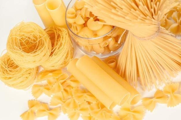 Delicious mixed pasta on white