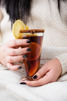 Delicious mulled wine with orange and cinnamon.