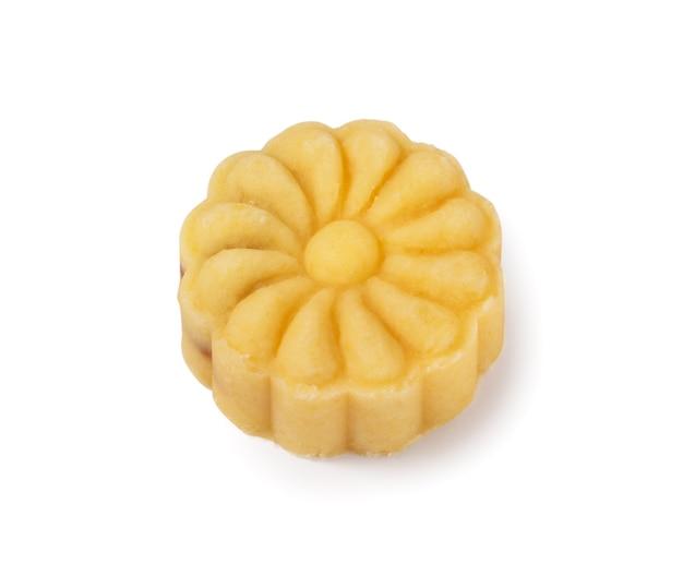 Вкусное тесто mooncake лунного торта бобов маш для еды фестиваля середины осени изолированное на белой предпосылке таблицы.