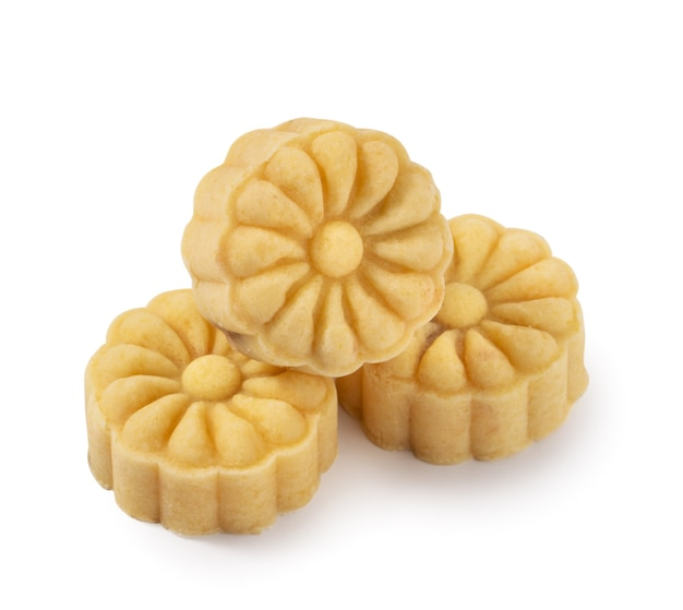 Delicious mung bean moon cake mooncake pastry for mid-autumn festival food isolated on white table background.