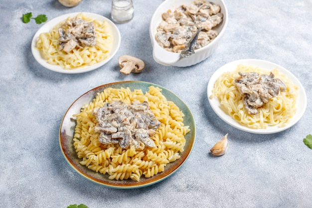 Delicious mushroom and chicken pasta, top view