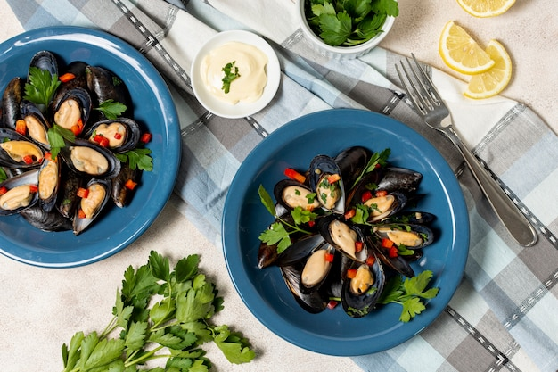 Delicious mussel shells with parsley