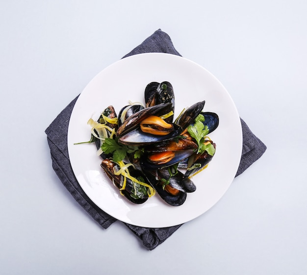 Delicious mussels in a plate