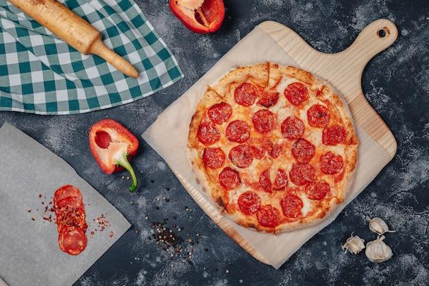 Delicious neapolitan pizza on a board