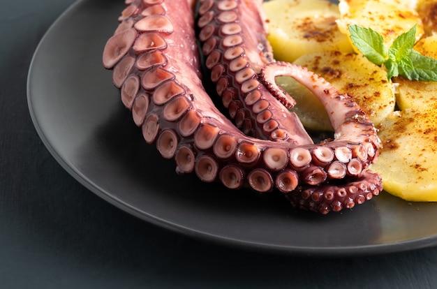 Вкусные щупальца осьминога, сервированные на прекрасной тарелке, на деревенском столе, макро высокого качества