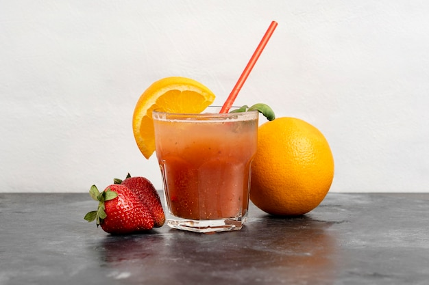 Delicious orange and strawberry drink