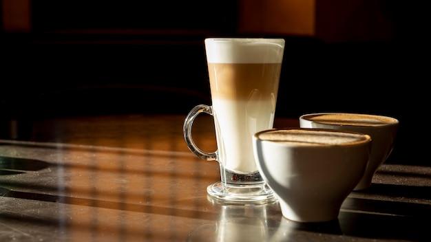Delicious organic latte macchiato with milk