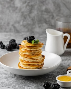 Delicious pancakes with blackberry