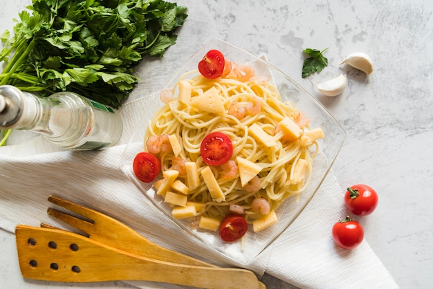 Delicious pasta dish with ingredients