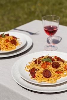 Delicious pasta with chorizo slices