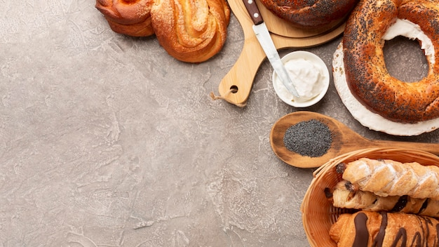 Delicious pastry and cream cheese