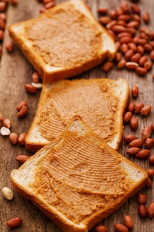 Delicious peanut butter on a toast