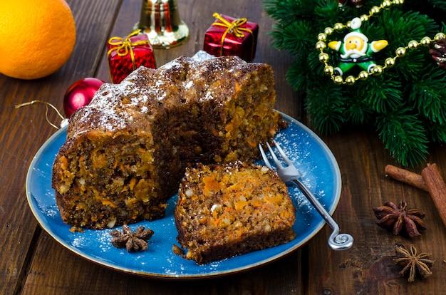 Delicious piece of christmas spice cake. studio photo