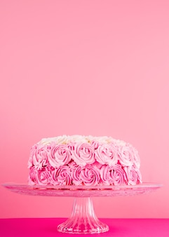 Delicious pink cake with roses