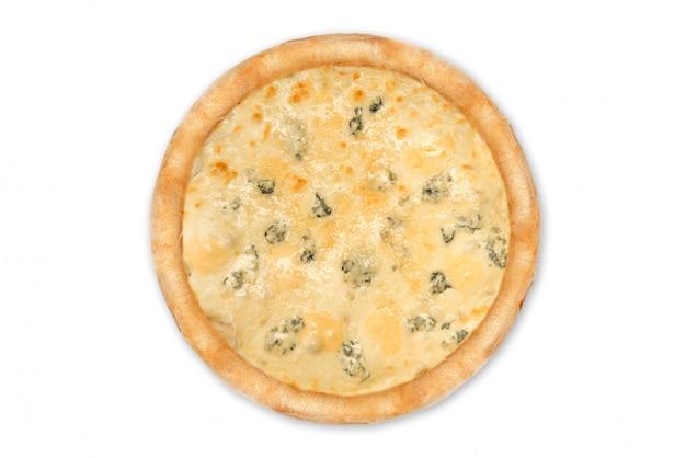 Delicious pizza four cheeses with cheddar, parmesan, mozzarella and tomato sauce quattro formaggi