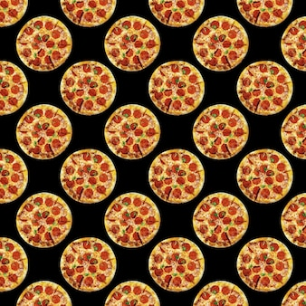 Delicious pizza multiplied in large quantities on dark background, fast food or pizzeria design, seamless pattern