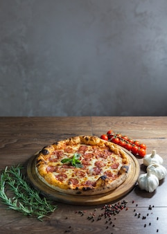Delicious pizza, traditional italian pizza.