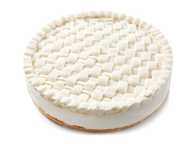 Delicious plain cheesecake on white background
