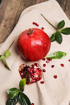 Delicious pomegranate and leaves