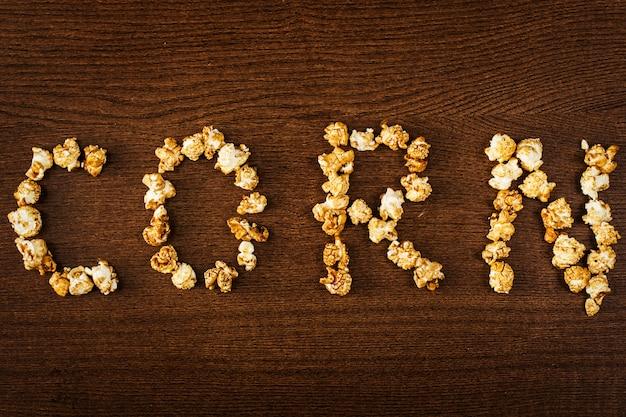 Delicious popcorn, corn word