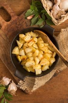 Delicious potatoes bowl on canvas sack
