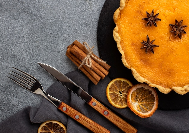 Delicious pumpkin pie and dried lemon slices