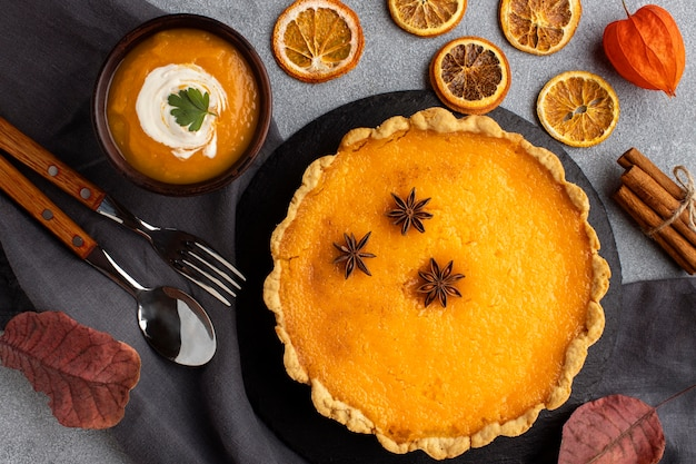 Delicious pumpkin pie and soup