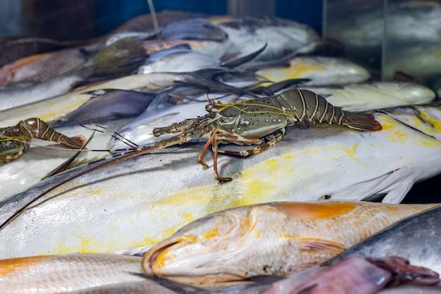 シーフード市場のおいしい生の魚