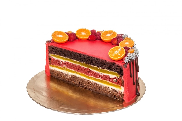 Delicious red fruit and chocolate cake in a cut.