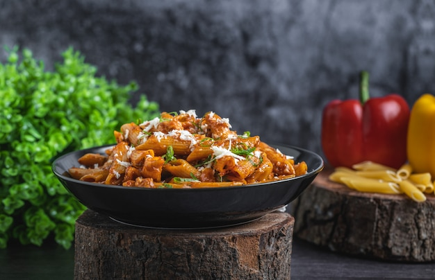 Delicious red sauce pasta with cheese on top