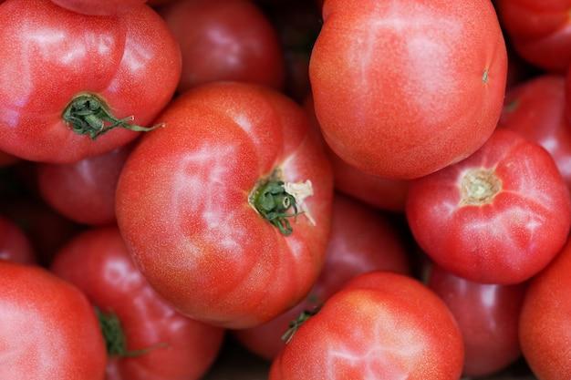 맛있는 빨간 토마토. 유기농 야채가 가득한 여름 트레이 시장 농업 농장