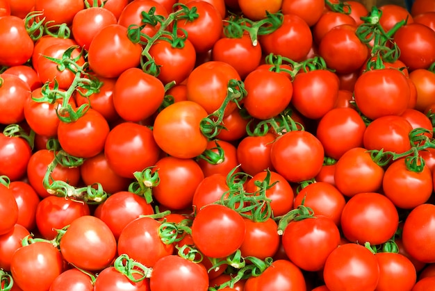 Delicious red tomatoes. summer tray market agriculture farm full of organic vegetables it can be used as .