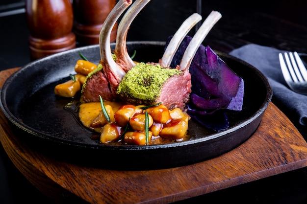 Delicious restaurant dish, rack of lamb in restaurant