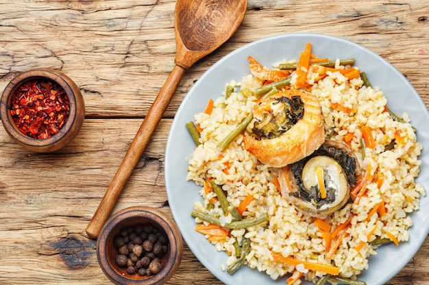 Delicious rice with seafood