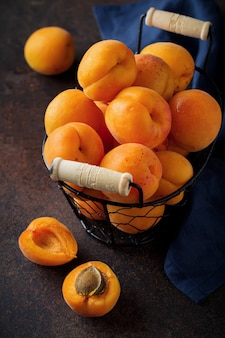 Delicious ripe apricots copy space