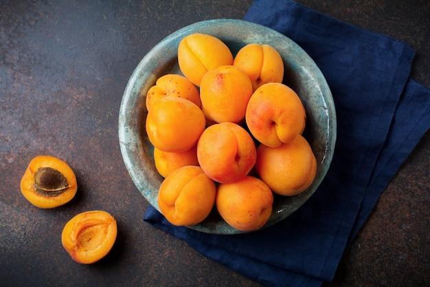 Delicious ripe apricots copy space
