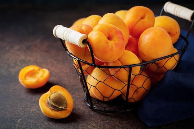Delicious ripe apricots selective focus. copy space