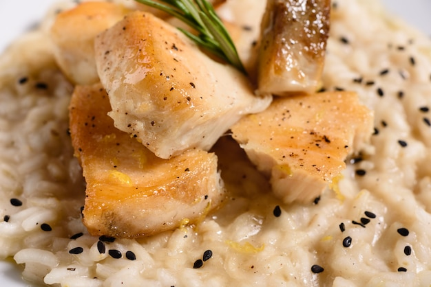 Delicious risotto with chicken fillet