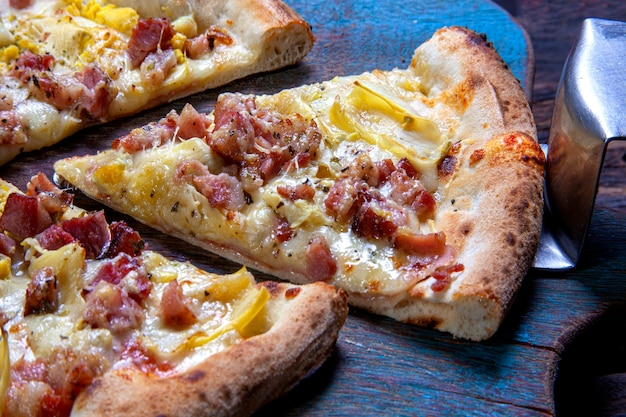 Delicious roast pizza and bacon
