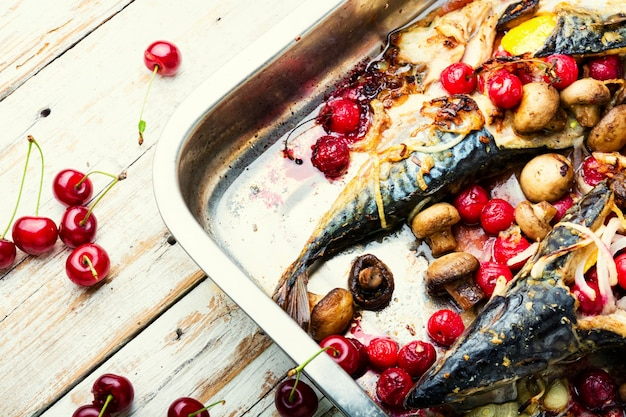 Delicious roasted mackerel fish in baking dish