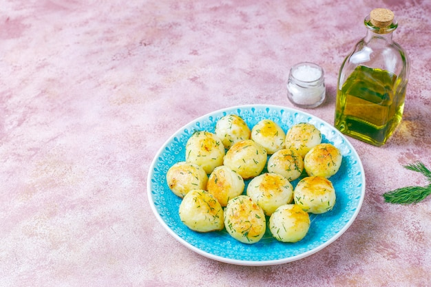 Delicious roasted young potatoes with dill