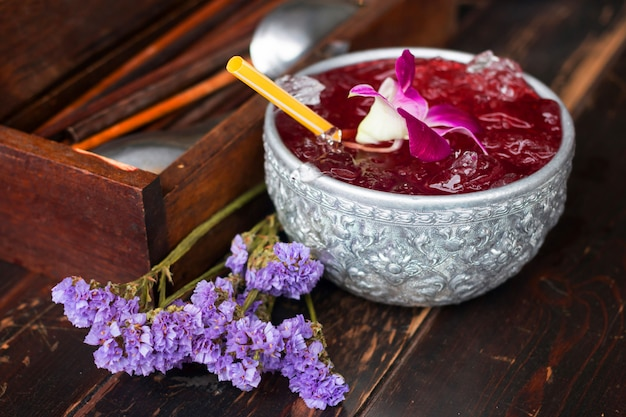 Delicious roselle juice with pea flowers