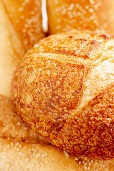 Delicious round bread close-up
