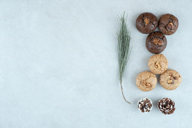 Delicious round cookies with christmas pinecones.