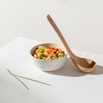 Delicious salad bean and big spoon