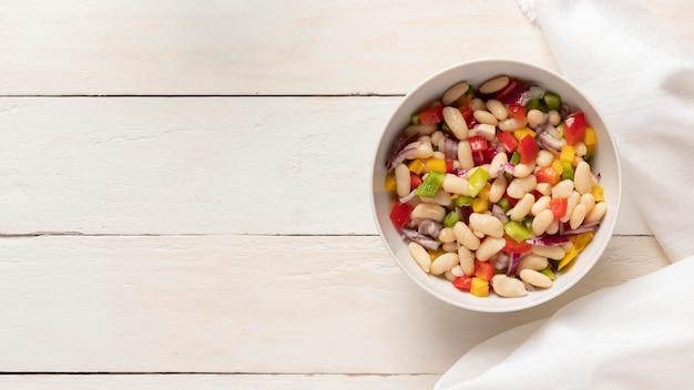 Delicious salad bean copy space