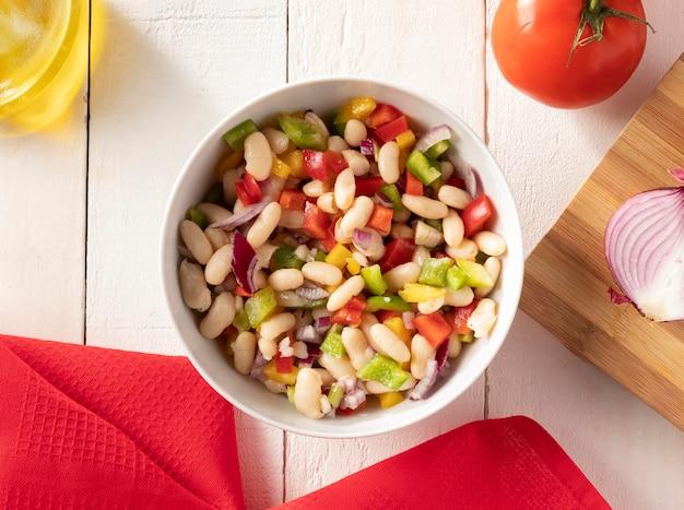 Delicious salad bean flat lay