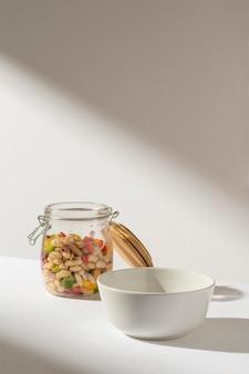 Delicious salad bean in a jar and shadows