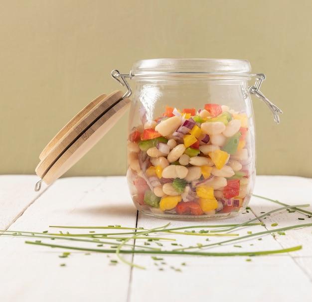 Delicious salad bean in a jar