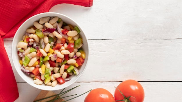 Delicious salad bean wooden copy space background